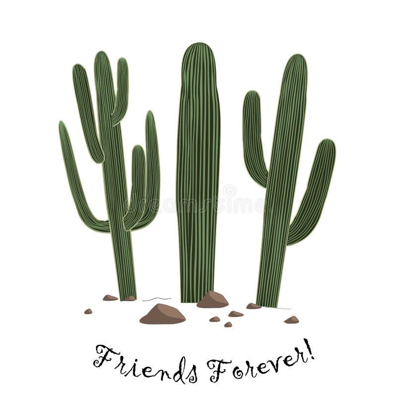 Ensemble de cactus mignon de Saguaro de la bande dessinée trois Les amis textotent pour toujours illustration de vecteur