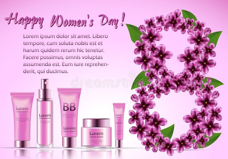 Ensemble de cadeau de cosmétiques pour le visage pendant le jour international du ` s de femmes illustration stock