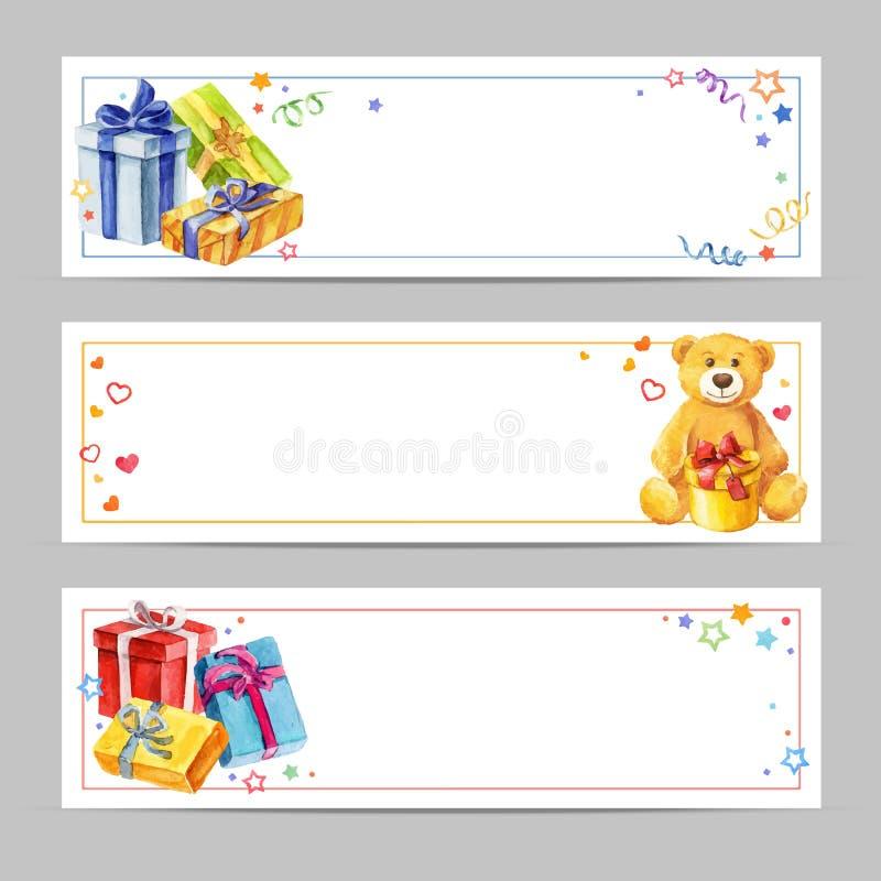 Ensemble de cadeaux de bannières pour les vacances Cartes de voeux pour des anniversaires et la Saint-Valentin Vecteur d'aquarell illustration de vecteur