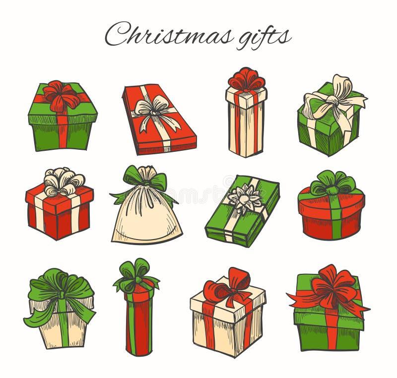 Ensemble de cadeaux de Noël illustration stock