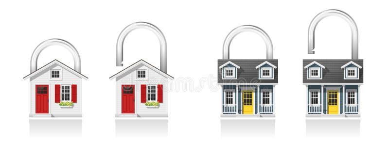 Ensemble de cadenas de petite maison d'isolement sur le fond blanc illustration de vecteur