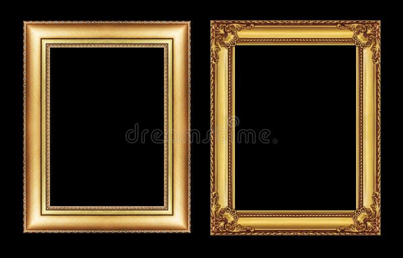 Ensemble de cadre d'or de vintage avec l'espace vide d'isolement sur le noir images stock