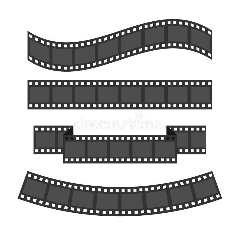 Ensemble de cadre de bande de film Ruban différent de forme Élément de conception Fond blanc D'isolement Conception plate illustration stock