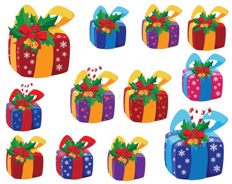 Ensemble de cadre de cadeaux de Noël illustration libre de droits
