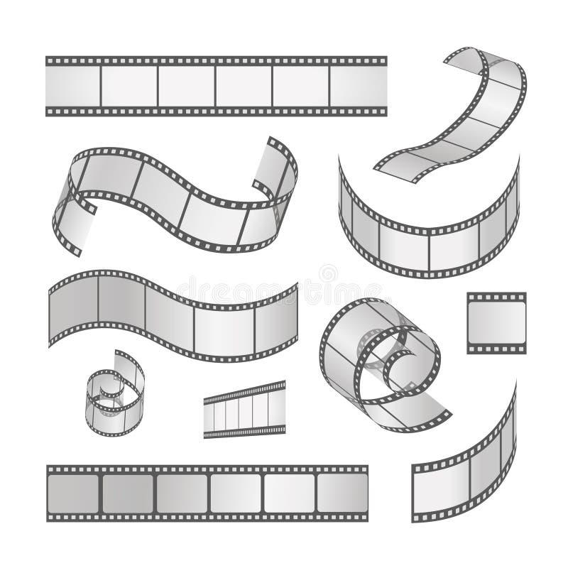 Ensemble de cadre de film de glissière, petit pain de film 35mm medias illustration stock