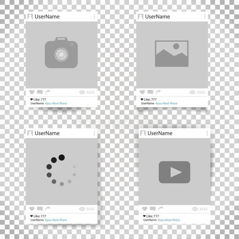 Ensemble de cadre de photo de calibre de vecteur Cadre social de photo de réseau conception pour votre photographie et photo illustration libre de droits