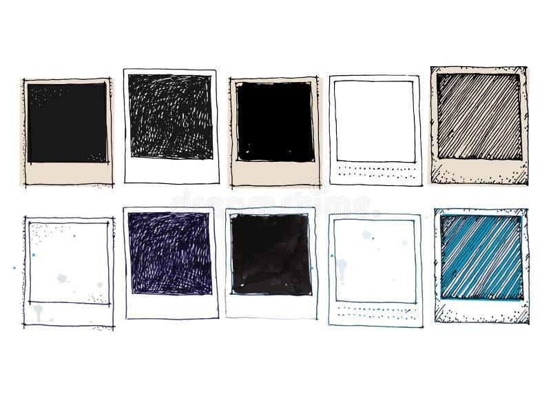 Ensemble de cadre de photo de dessin de vintage illustration stock