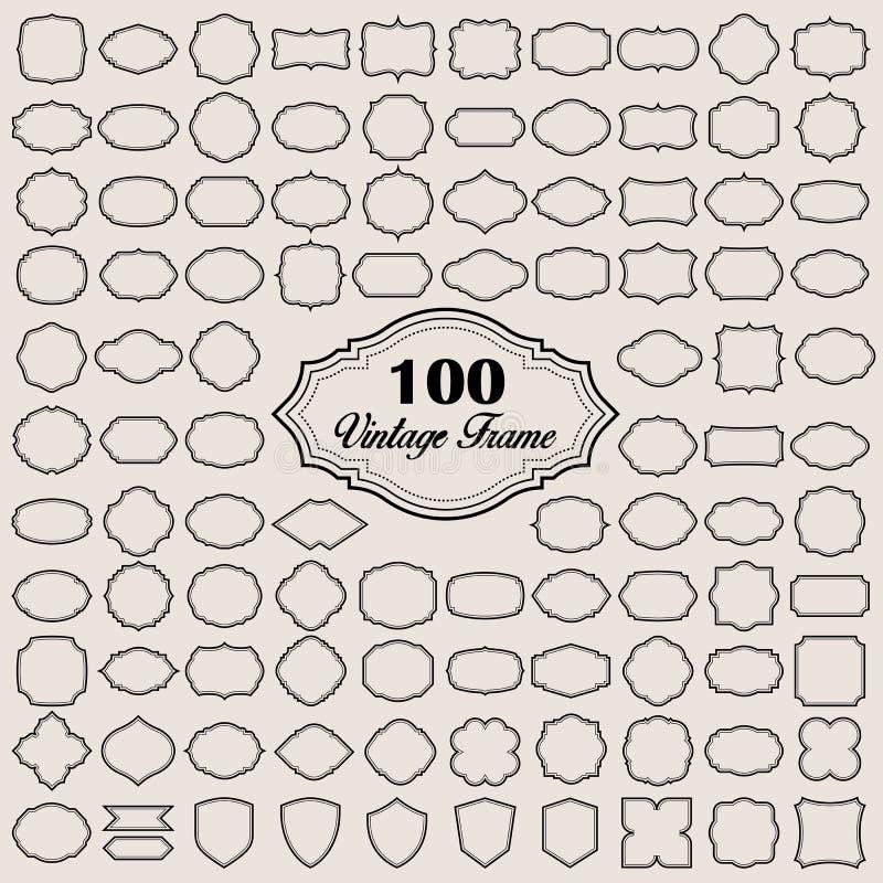 Ensemble de cadre en blanc du vintage 100 (insignes et labels) illustration libre de droits