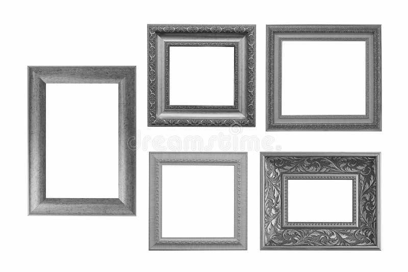 Ensemble de cadre gris de vintage d'isolement sur le fond blanc photos libres de droits