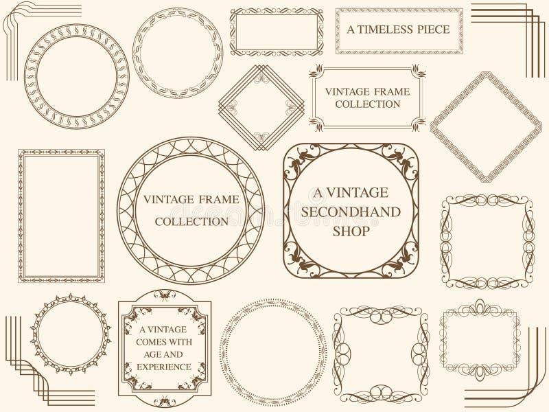 Ensemble de cadres assortis de vintage, illustrations de vecteur Ensemble de cadres assortis de vintage, illustration de vecteur photos stock