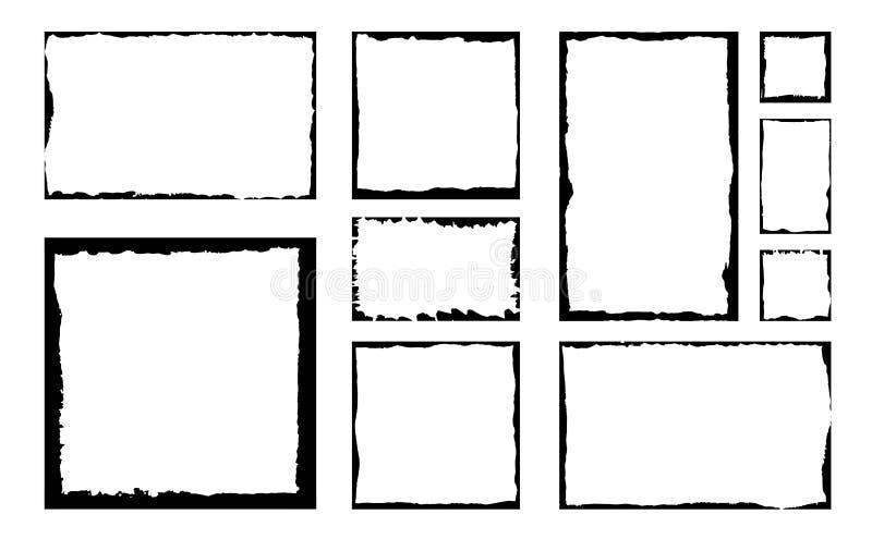 Ensemble de cadres carrés grunges d'encre Fond vide de frontière illustration libre de droits