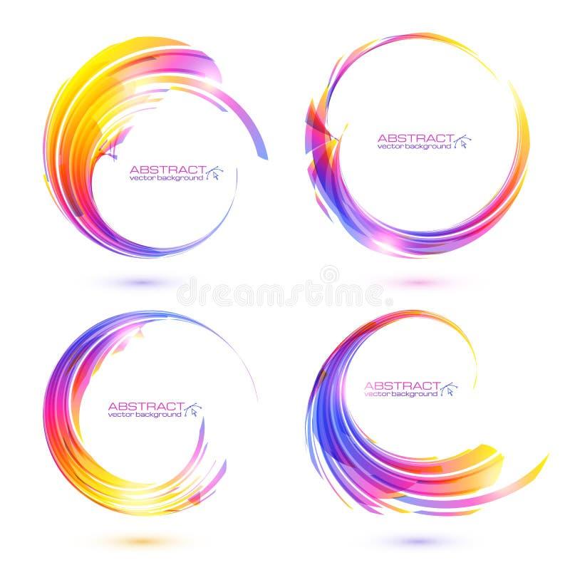 Ensemble de cadres colorés d'abrégé sur cercle illustration libre de droits