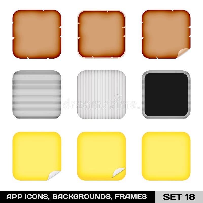Ensemble de cadres d'icône d'APP, calibres, milieux. Ensemble 18 illustration stock