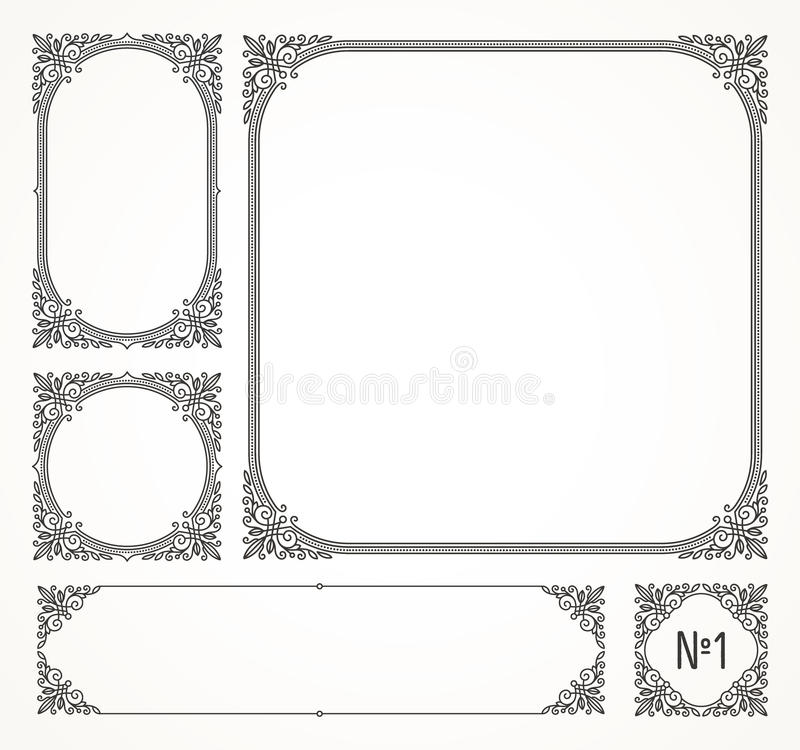 Ensemble de cadres d'ornamental de flourishes illustration de vecteur