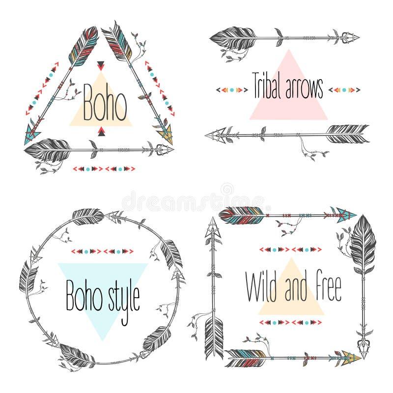 Ensemble de cadres de flèches, flèches tribales Plumes ethniques Style de Boho illustration stock