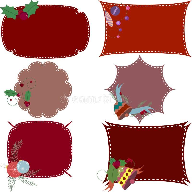 Ensemble de cadres de Noël avec les éléments décoratifs illustration stock