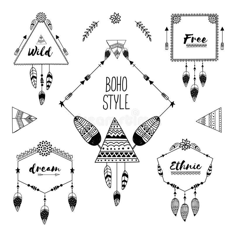 Ensemble de cadres de style de boho avec les éléments ethniques illustration stock