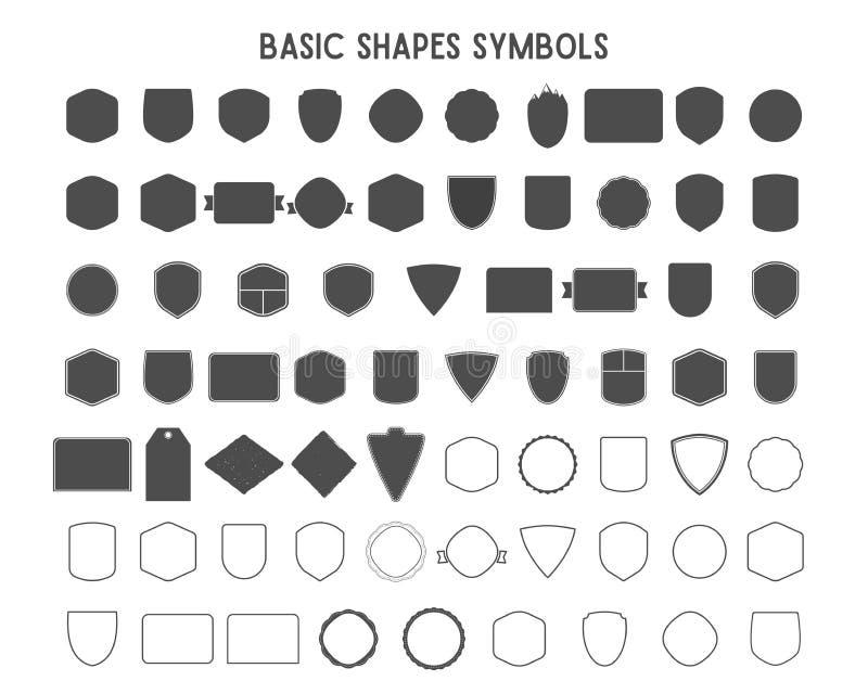 Ensemble de cadres de vintage, de formes et de formes pour le logo, labels, insignes avec des lignes Employez le voyage, le campi illustration stock