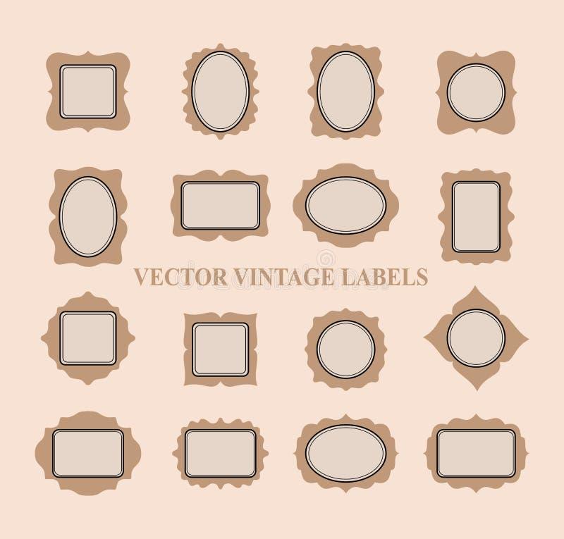 Ensemble de cadres de vintage et d'éléments de conception - vecteur illustration stock