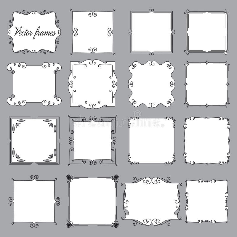 Ensemble de cadres de vintage sur un fond gris photo libre de droits