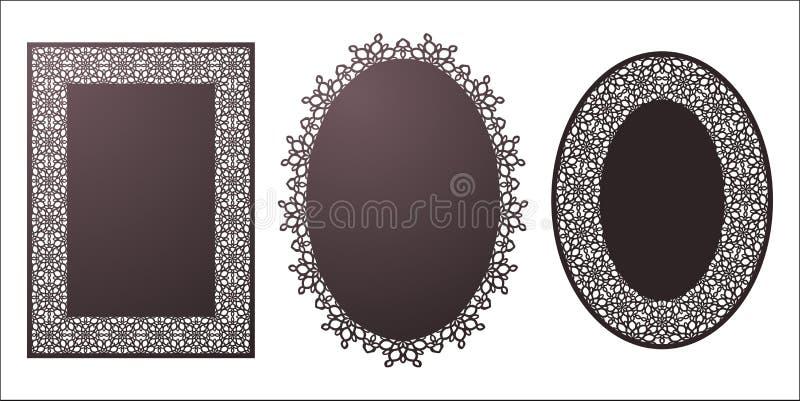 Ensemble de cadres de dentelle d'ovale et de rectangle de pochoir de vecteur avec découpé illustration stock
