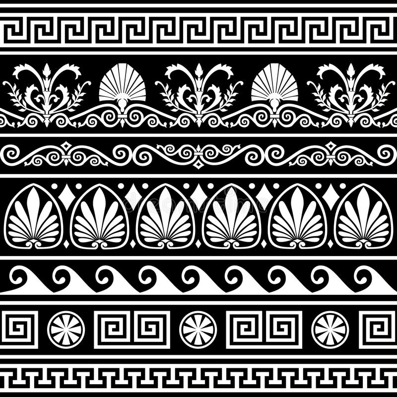Ensemble de cadres grecs antiques sur le noir illustration de vecteur