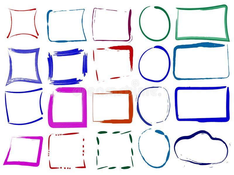 Ensemble de cadres grunges vides colorés Illustration de vecteur de colo illustration de vecteur