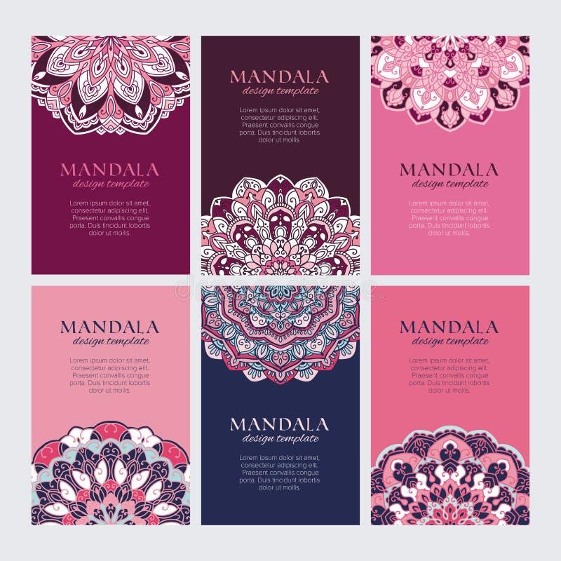 Ensemble de cadres orientaux décoratifs de rose, violets et bleus pour l'identité, le Web et les copies illustration de vecteur