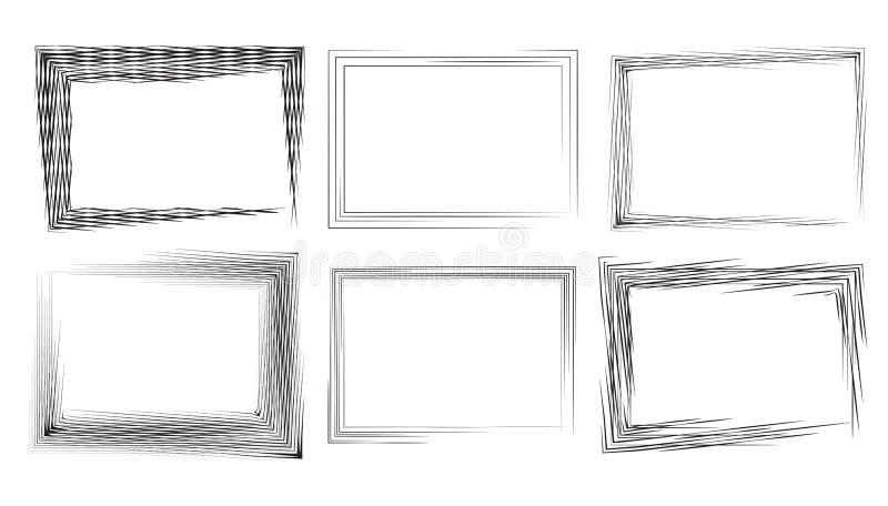 Ensemble de cadres rectangulaires avec les courses et la gravure illustration libre de droits