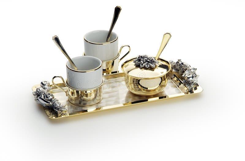 Ensemble de café élégant avec le plateau d'or image libre de droits