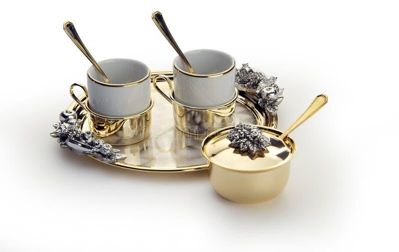 Ensemble de café élégant avec le plateau d'or photos libres de droits