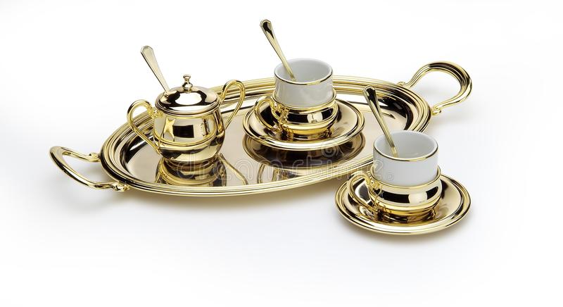 Ensemble de café élégant avec le plateau d'or photo stock