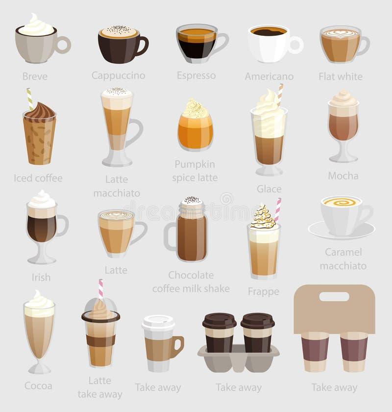 Ensemble de café : cappuccino, latte, crème et autre illustration stock
