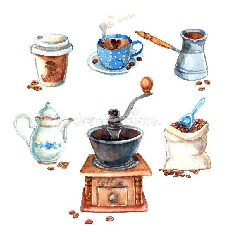 Ensemble de café tiré par la main d'aquarelle de vintage illustration libre de droits