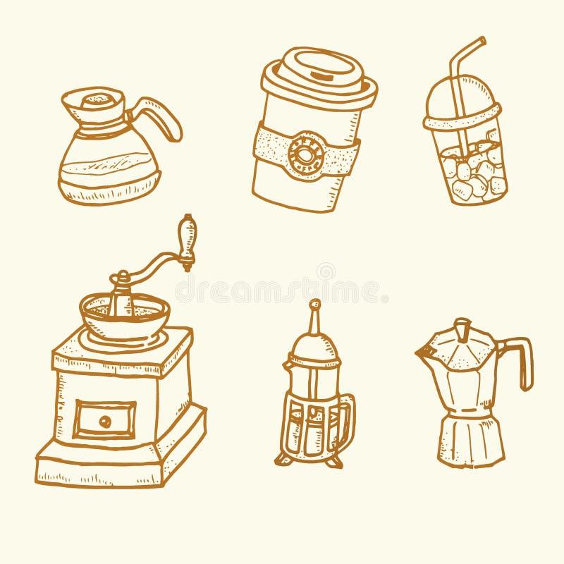 Ensemble de café tiré par la main de vintage de croquis de griffonnage pour le restaurant, café illustration stock