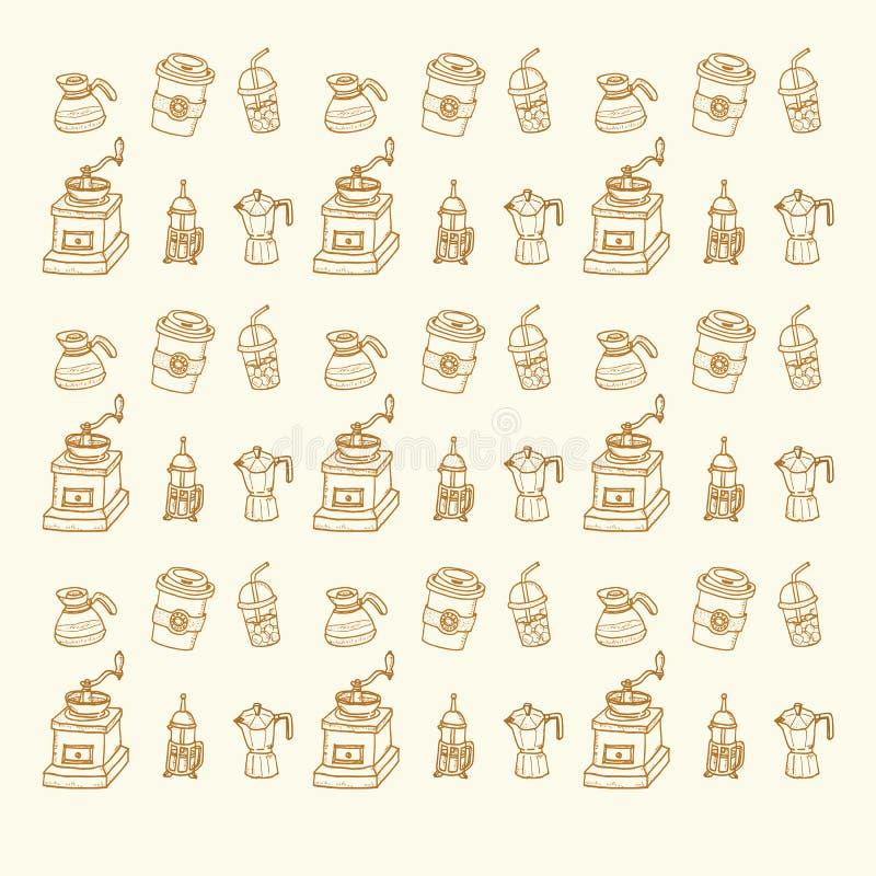 Ensemble de café tiré par la main de vintage de croquis de griffonnage pour le restaurant, café illustration de vecteur