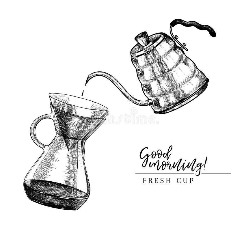Ensemble de café Tiré par la main versez plus d'et bouilloire de coffe méthode alternative de brassage Équipement de barman Icône illustration libre de droits