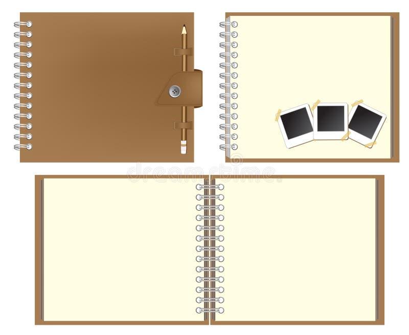 Ensemble de cahier de Brown illustration de vecteur