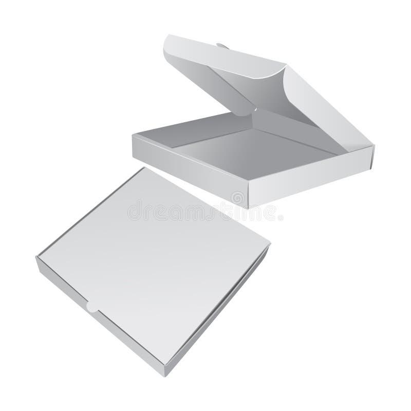 Ensemble de caisse d'emballage pour la pizza Illustration 3D réaliste de vecteur illustration libre de droits