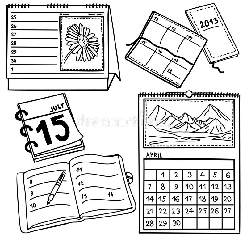 Ensemble de calendriers - illustration tirée par la main illustration stock