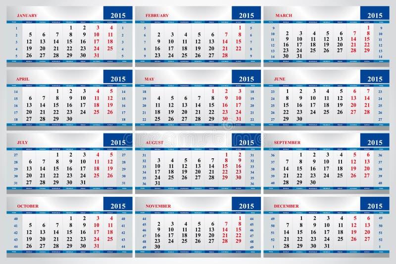 Ensemble de calendriers pour chaque mois en 2015 illustration stock