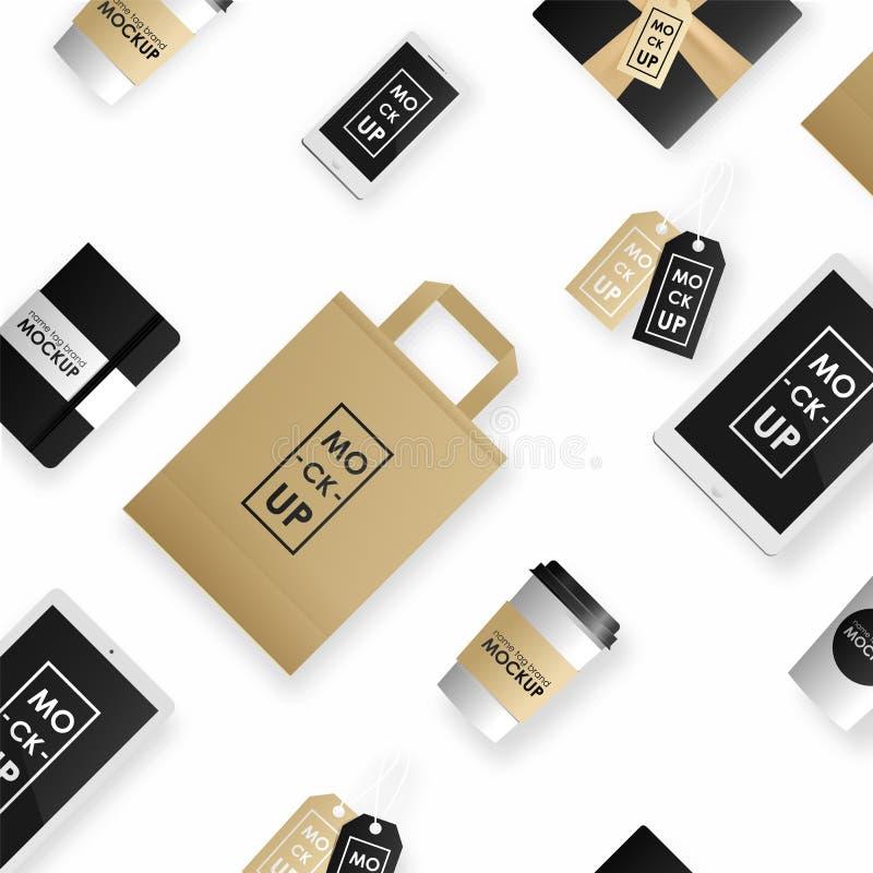 Ensemble de calibre de conception d'identité d'entreprise Paquet de maquette, comprimé, téléphone, prix à payer, tasse, carnet illustration stock