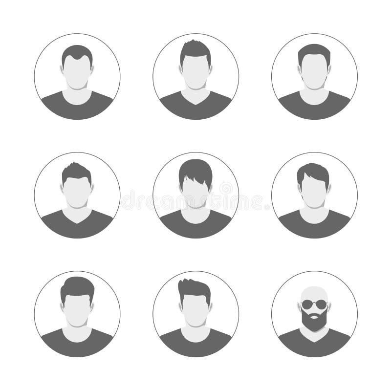 Ensemble de calibre d'avatar des hommes Collection d'icônes d'utilisateur Symbole des personnes pour l'avatar de site Web Illustr illustration de vecteur