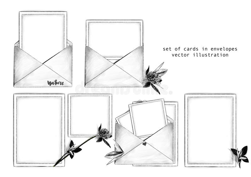 Ensemble de calibre d'enveloppes et de cartes postales ouvertes à l'intérieur à côté de la fleur de trèfle avec des feuilles dans illustration de vecteur