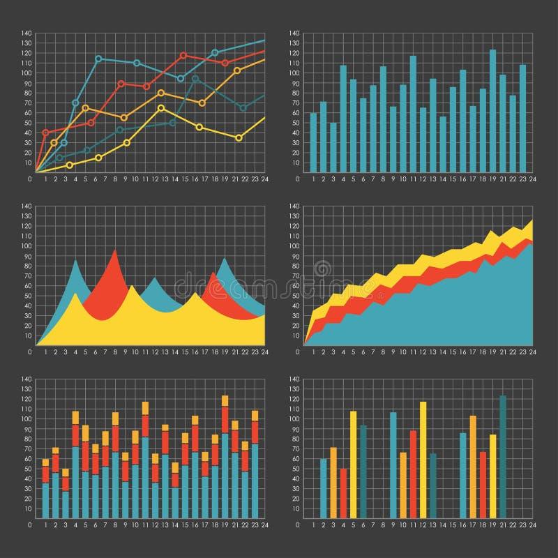 Ensemble de calibre de graphique et de diagramme Graphiques pour la statistique et les données commerciales Éléments d'infographi illustration de vecteur