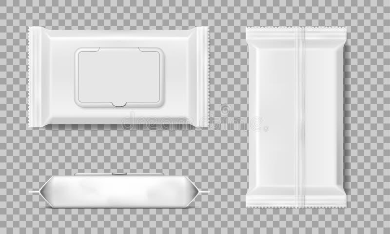 Ensemble de calibre humide de serviettes de chiffons d'isolement Blanc mouillez le paquet vide de chiffons Illustration de vecteu illustration stock