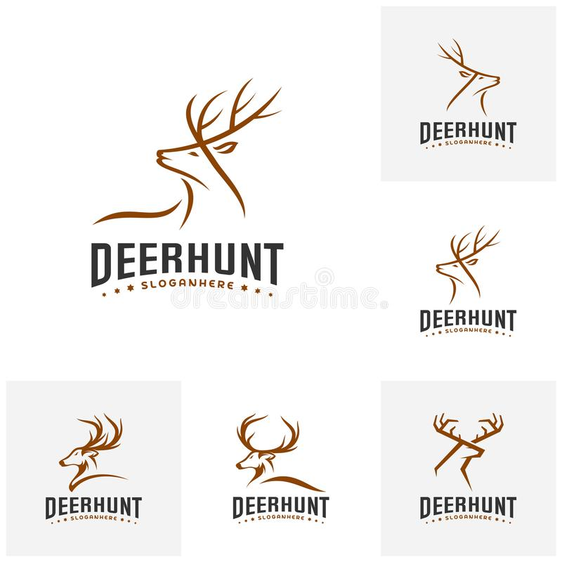 Ensemble de calibre de Hunt Logo de cerfs communs, vecteur principal de conceptions de logo de cerfs communs élégants illustration de vecteur