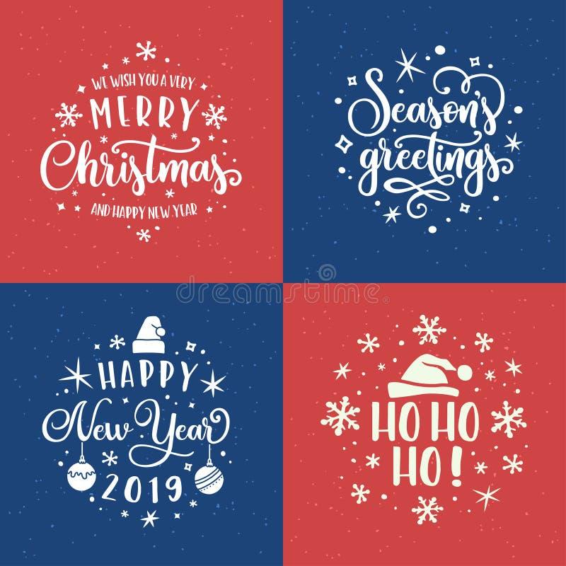 Ensemble de calibre de lettrage de Joyeux Noël et de bonne année Illustration de vintage de vecteur illustration stock