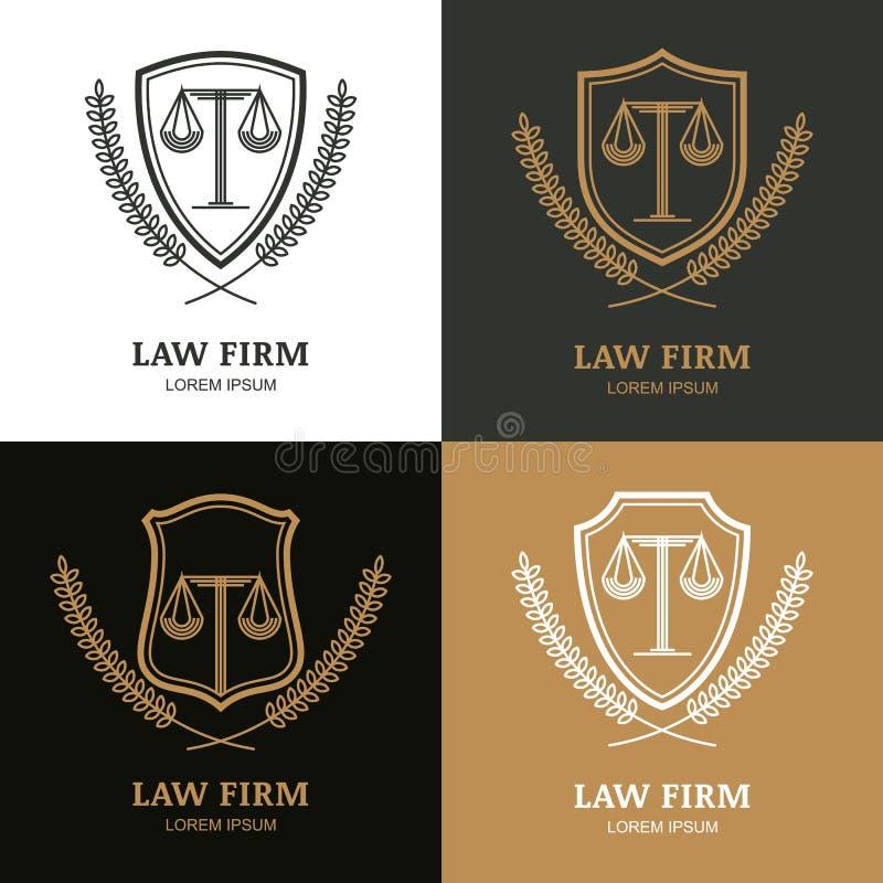 Ensemble de calibre linéaire de logo de cabinet d'avocats de vintage de vecteur illustration libre de droits