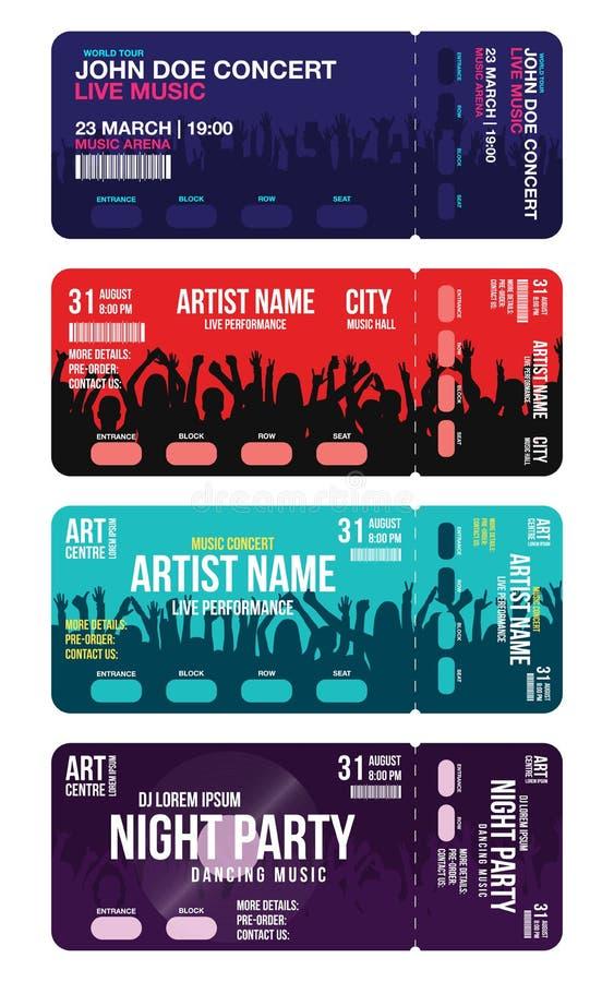 Ensemble de calibres de billet de concert Le calibre de conception de billet de concert, de partie ou de festival avec des person illustration de vecteur